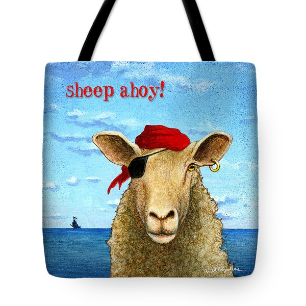Tote Bag featuring the painting Sheep Ahoy by Will Bullas