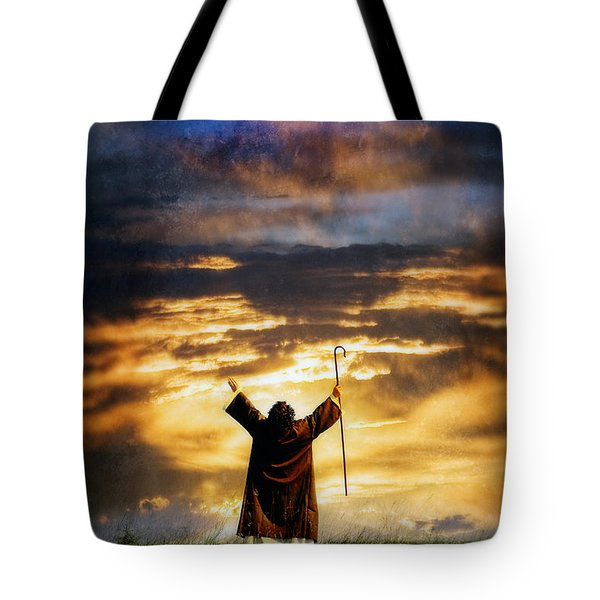 Shepherd Arms Up In Praise Tote Bag by Jill Battaglia