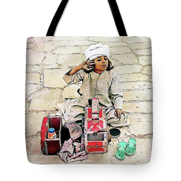 Tote Bag featuring the digital art Shoeshine Girl - Nile River, Egypt by Joseph Hendrix