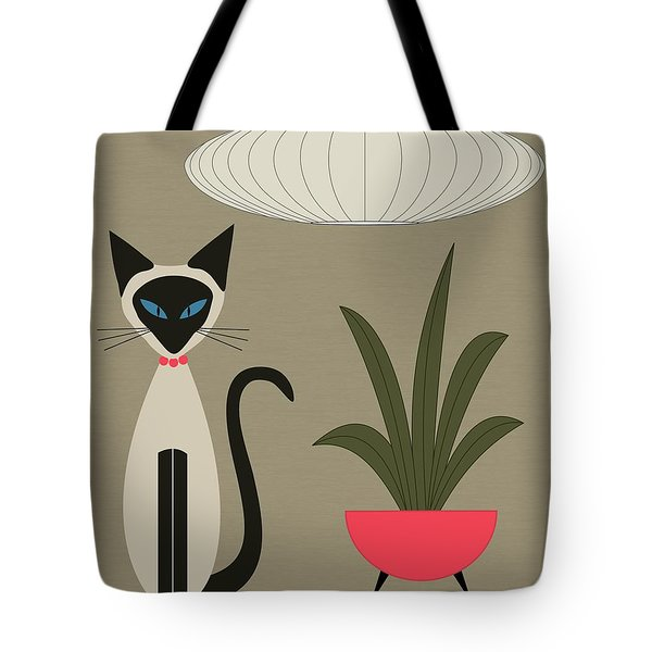Tote Bag featuring the digital art Siamese Cat On Tabletop by Donna Mibus