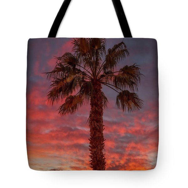Silhouetted Palm Tree Tote Bag by Robert Bales