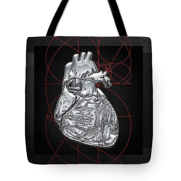 Silver Human Heart On Black Canvas Tote Bag