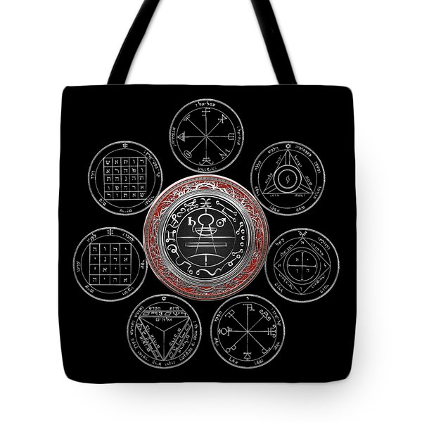 Silver Seal Of Solomon Over Seven Pentacles Of Saturn On Black Canvas  Tote Bag