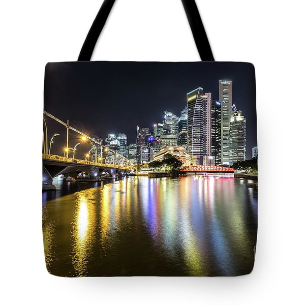 Singapore River At Night With Financial District In Singapore Tote Bag