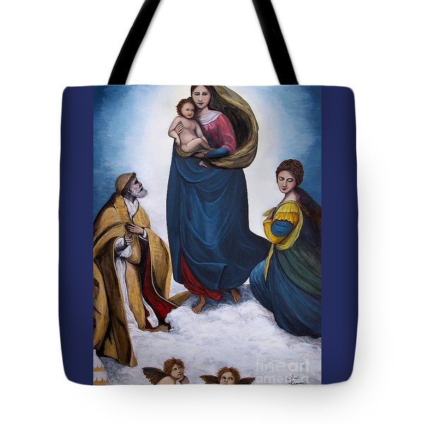 Tote Bag featuring the painting Sistine Madonna by Judy Kirouac