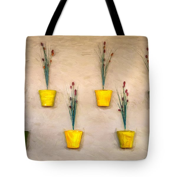 Six Flower Pots On The Wall Tote Bag by Gary Slawsky