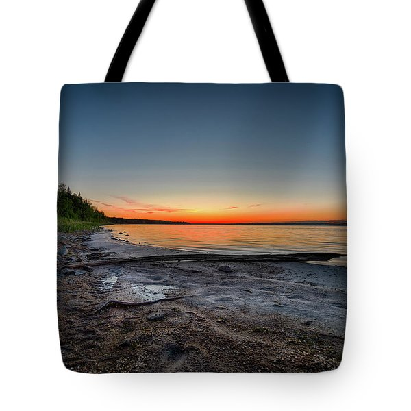 Tote Bag featuring the photograph Skeleton Lake Beach At Sunset by Darcy Michaelchuk