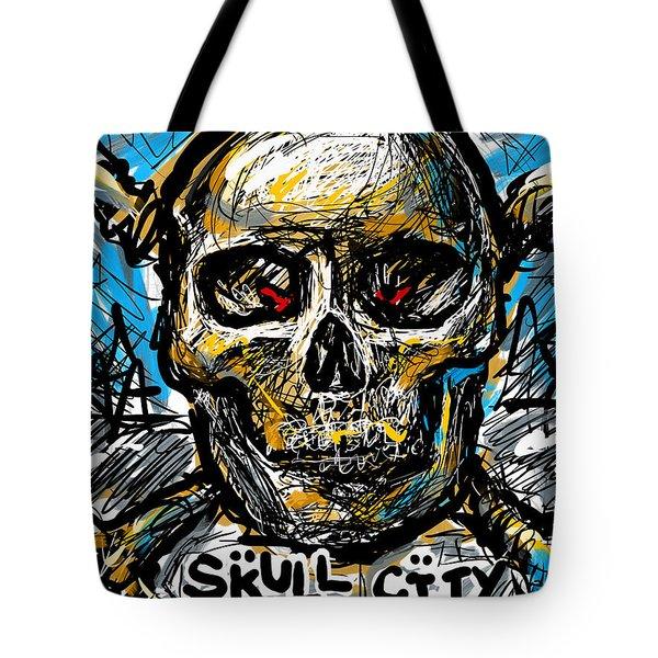 Tote Bag featuring the digital art Skull City by Joe Bloch