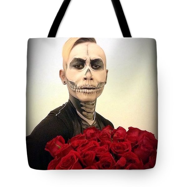 Skull Tux And Roses Tote Bag by Kent Chua