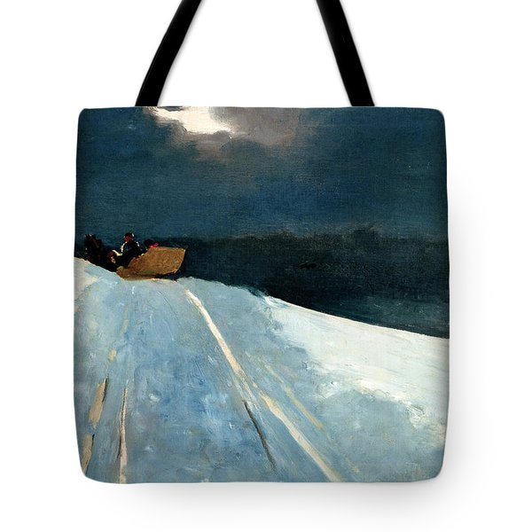 Tote Bag featuring the painting Sleigh Ride by Winslow Homer