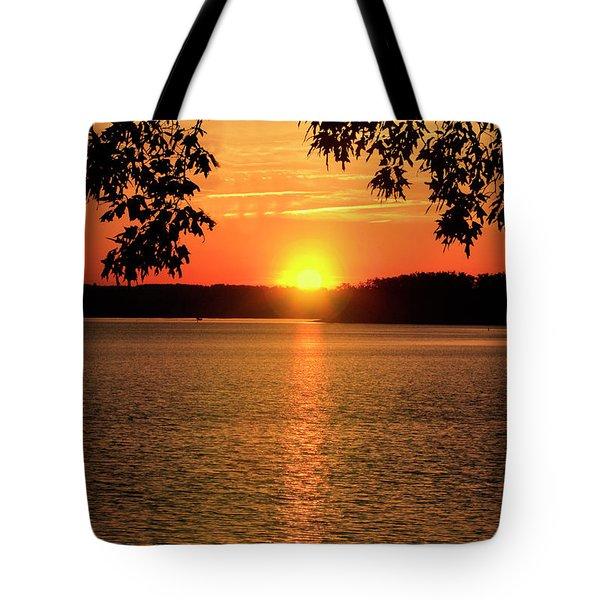 Smith Mountain Lake Silhouette Sunset Tote Bag