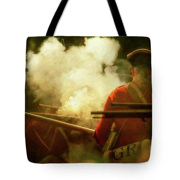 Tote Bag featuring the digital art Smoke In The Forest by Randy Steele