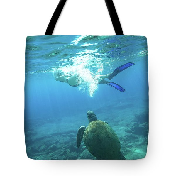 Tote Bag featuring the photograph Snorkeler Female Sea Turtle by Benny Marty