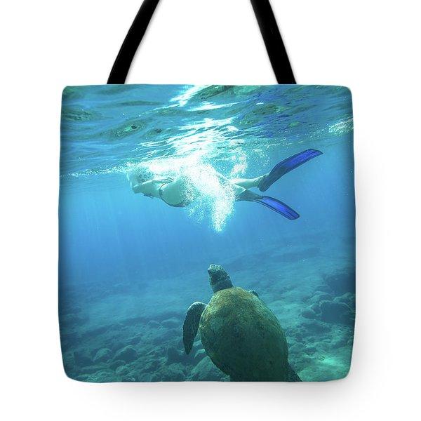 Snorkeler Female Sea Turtle Tote Bag
