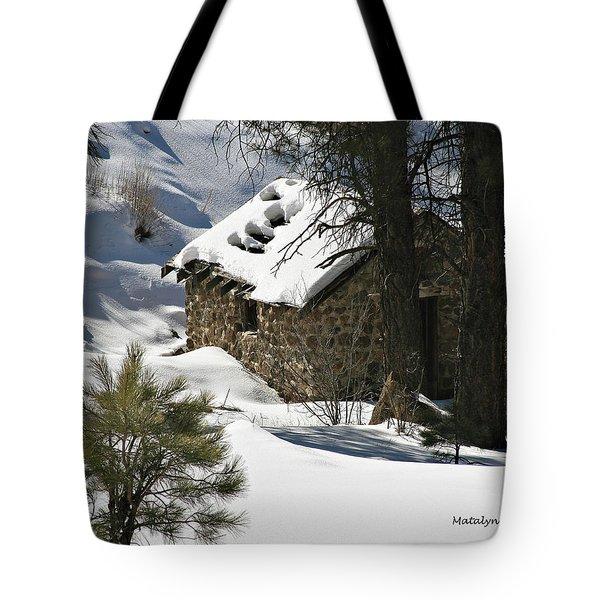 Snow Cabin Tote Bag