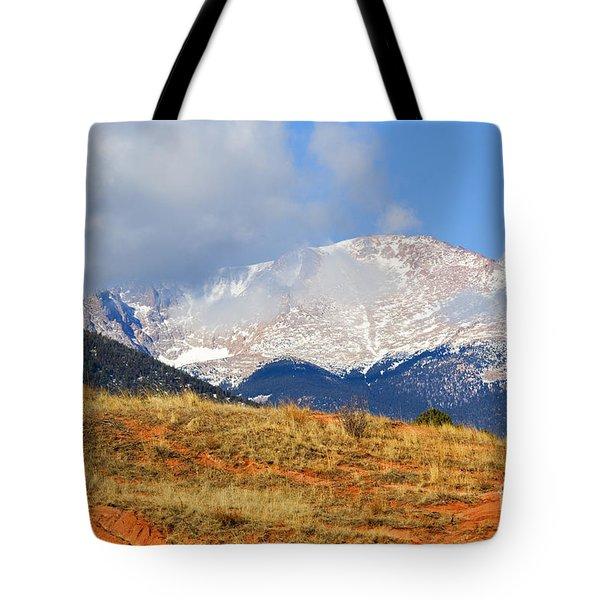Snow Capped Pikes Peak Colorado Tote Bag