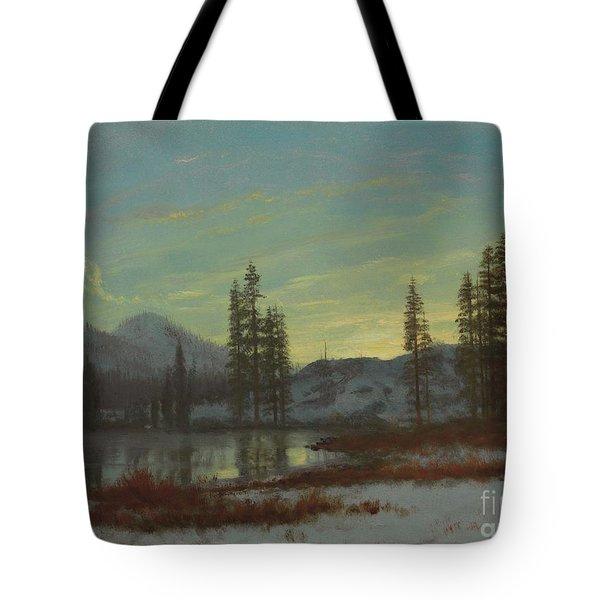 Snow In The Rockies Tote Bag by Albert Bierstadt