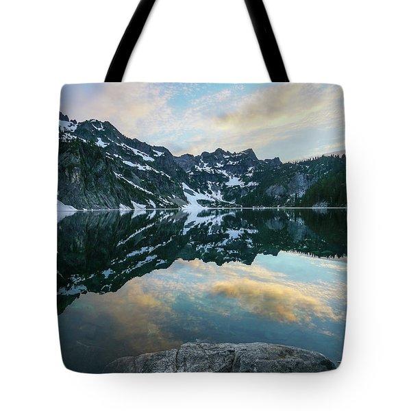 Snow Lake Chair Peak Dusk Reflection Tote Bag