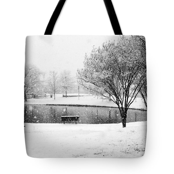 Snowy Day On Man Made Pond Tote Bag by Andy Lawless
