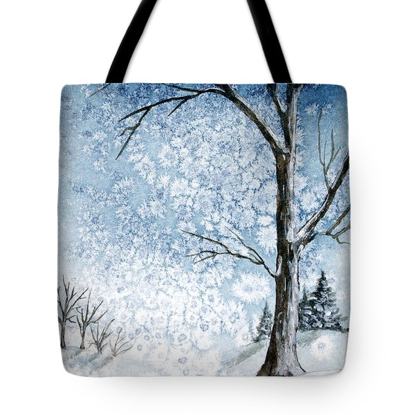 Snowy Night Tote Bag by Rebecca Davis
