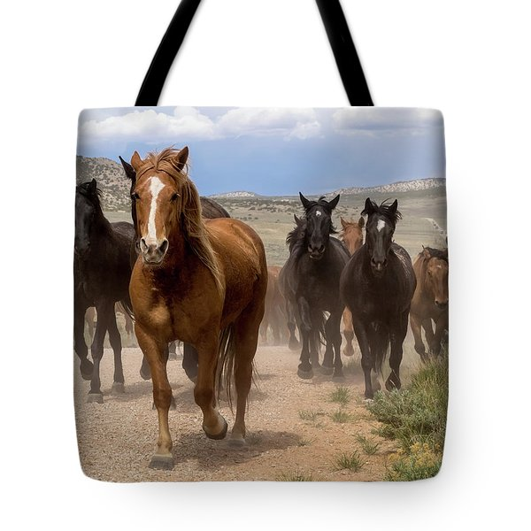 Sombrero Ranch Horse Drive, An Annual Event In Maybell, Colorado Tote Bag