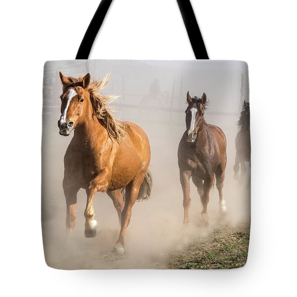 Sombrero Ranch Horse Drive At The Corrals Tote Bag