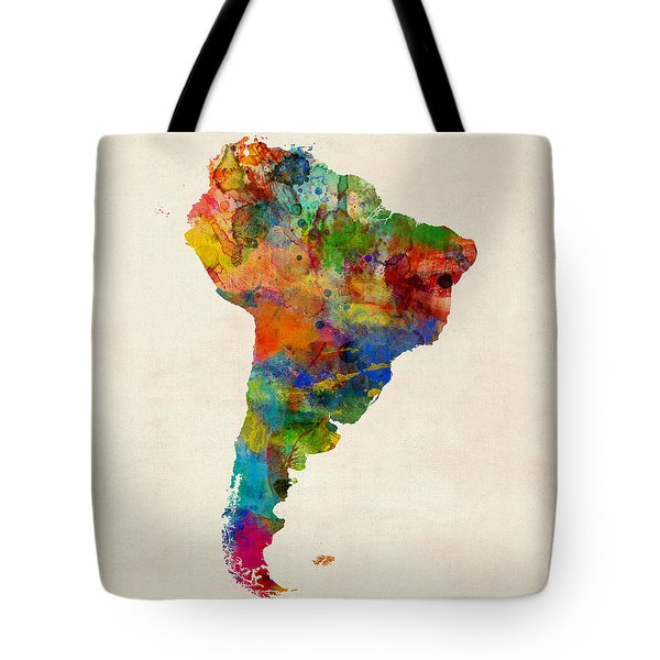 South America Watercolor Map Tote Bag