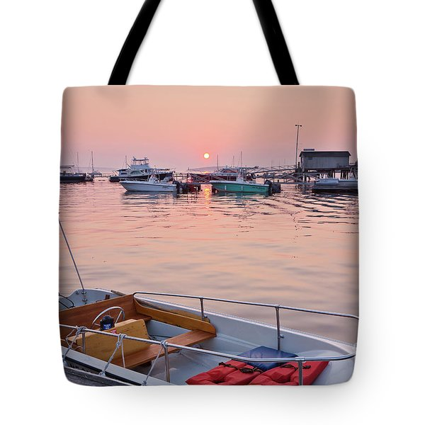 Tote Bag featuring the photograph Southwest Harbor Sunrise by Susan Cole Kelly
