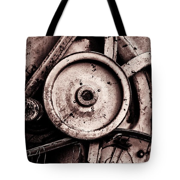 Soviet Ussr Combine Harvester Abstract Cogs In Monochrome Tote Bag
