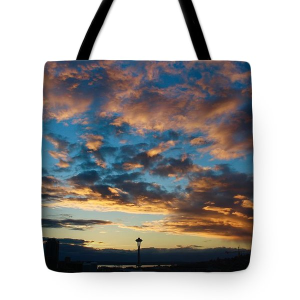 Space Needle In Clouds Tote Bag