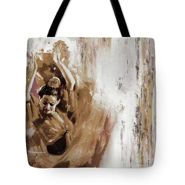 Tote Bag featuring the painting Spanish Woman Dance  by Gull G
