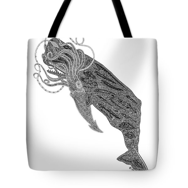Sperm Whale And Squid Tote Bag by Carol Lynne