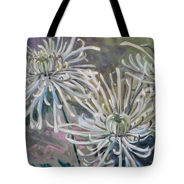 Tote Bag featuring the painting Spider Mums by Donald Maier
