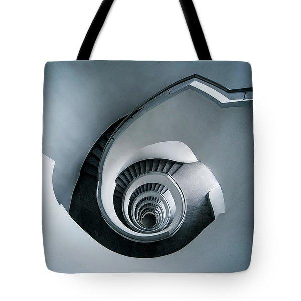 Spiral Staircase In Blue Tones Tote Bag by Jaroslaw Blaminsky