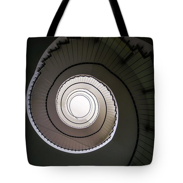 Tote Bag featuring the photograph Spiral Staircase In Brown Tones by Jaroslaw Blaminsky