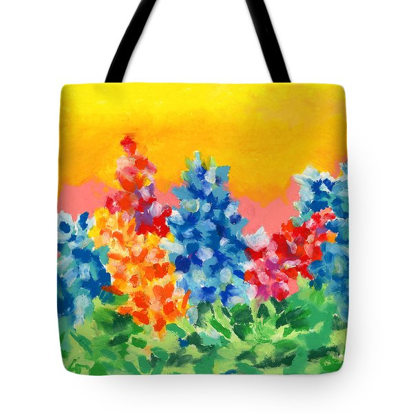 Tote Bag featuring the painting Spring Wildflowers by Stephen Anderson