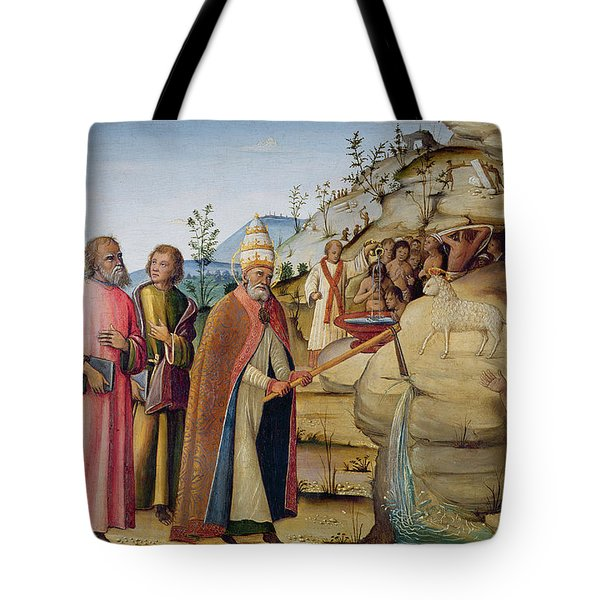 St Clement Striking The Rock Tote Bag