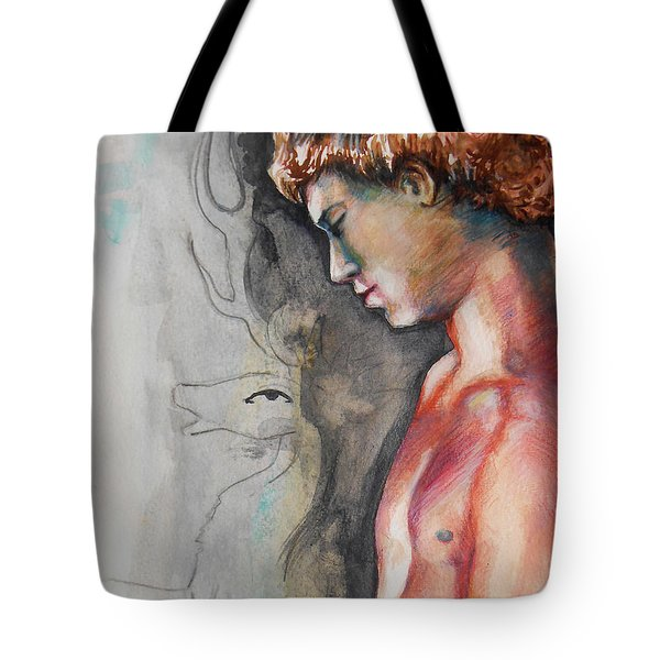 Tote Bag featuring the painting Stag Antlers Version  by Rene Capone