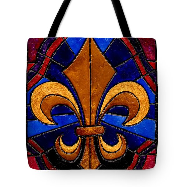 Stained Glass Fleur De Lis Tote Bag by Elaine Hodges