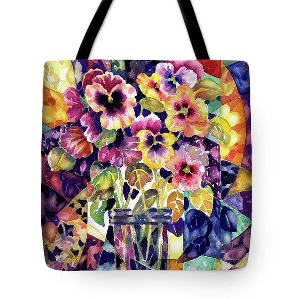 Stained Glass Pansies Tote Bag