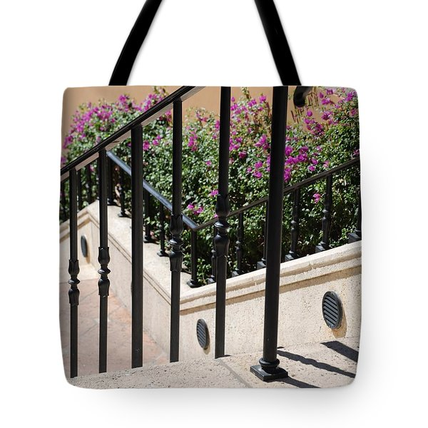 Stairs And Rails Tote Bag by Rob Hans