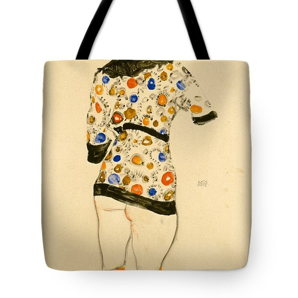 Standing Woman In A Patterned Blouse Tote Bag