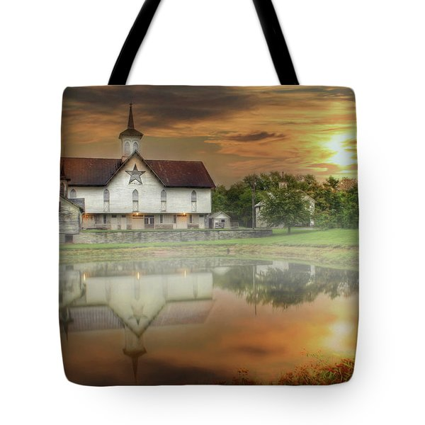 Tote Bag featuring the mixed media Star Barn Sunrise by Lori Deiter