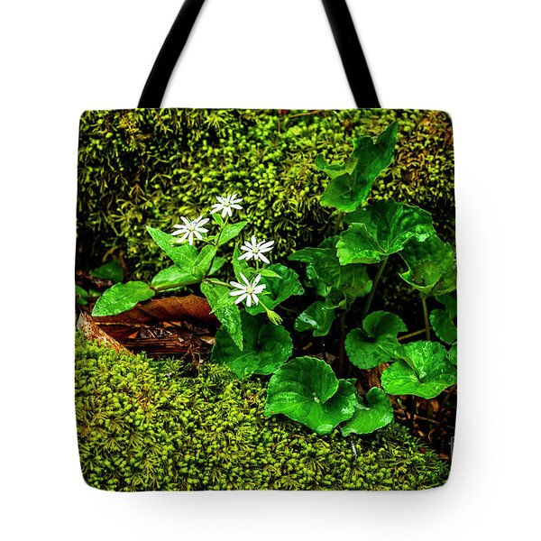 Star Chickweed Mossy Rock Tote Bag