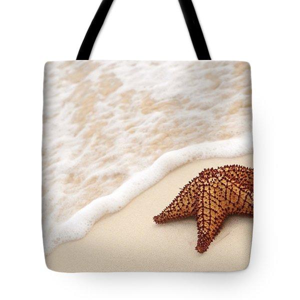 Starfish And Ocean Wave Tote Bag by Elena Elisseeva