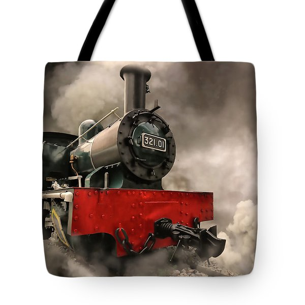 Tote Bag featuring the photograph Steam Engine by Charuhas Images