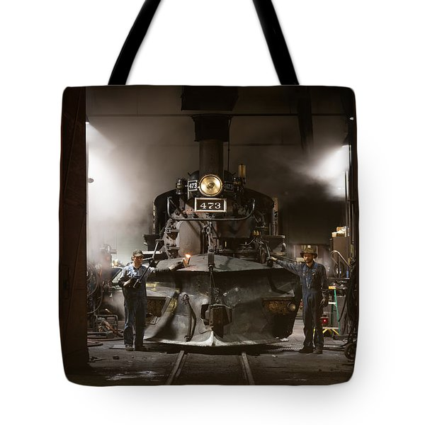 Steam Locomotive In The Roundhouse Of The Durango And Silverton Narrow Gauge Railroad In Durango Tote Bag by Carol M Highsmith