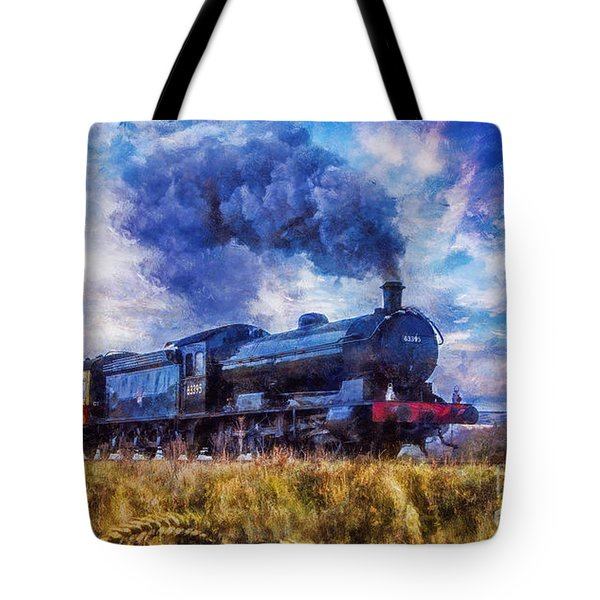 Tote Bag featuring the digital art Steam Train by Ian Mitchell