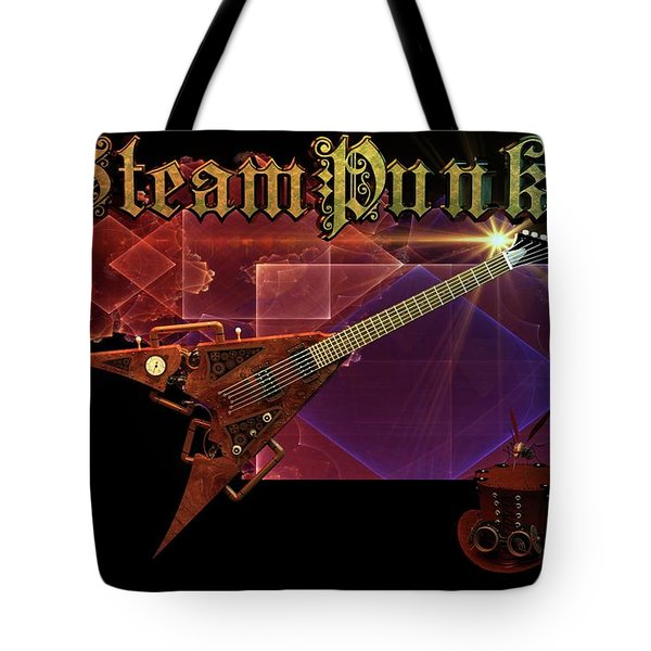 Tote Bag featuring the digital art Steampunk Guitar by Louis Ferreira