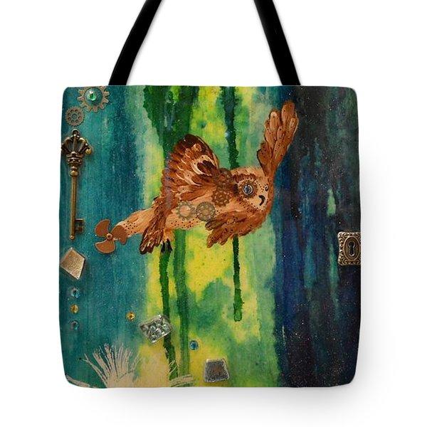 Steampunk Owl Blue Horizon Tote Bag